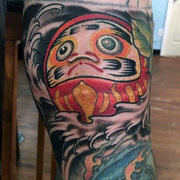 Gentleman With Daruma Doll Leg Tattoo