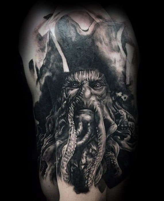 Gentleman With Davy Jones Half Sleeve Tattoo