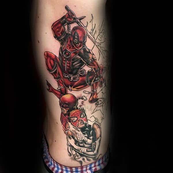 Gentleman With Deadpool Jumping Rib Cage Side Of Body Tattoo
