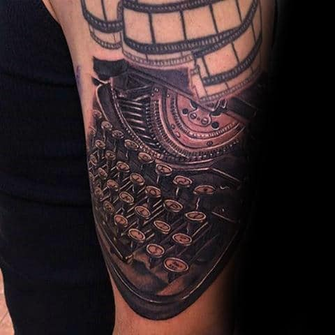 Gentleman With Detailed Typewriter Arm Tattoo Design
