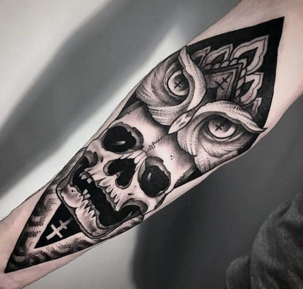 Gentleman With Different Owl Skull Inner Forearm Tattoo