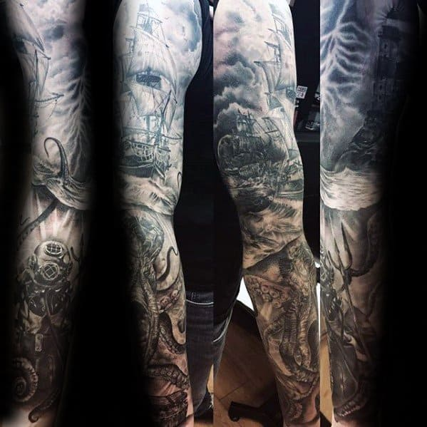 Gentleman With Diving Helmet Ocean Themed Full Arm Sleeve Tattoo