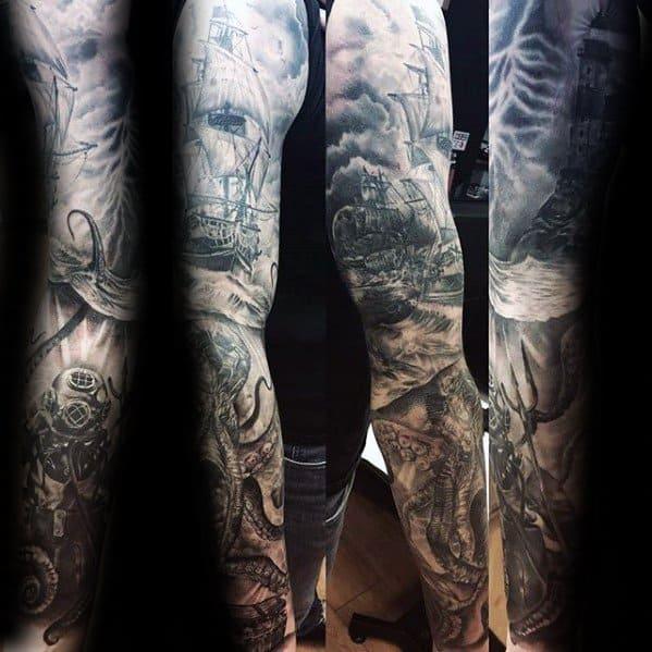 Gentleman With Diving Helmet Ocean Themed Full Arm Sleeve Tattoo