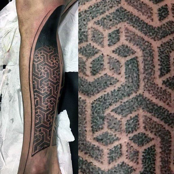 Gentleman With Dotwork Cover Up Geometric Leg Tattoo