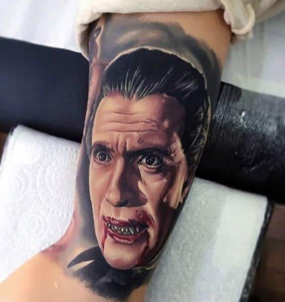 Gentleman With Dracula Blood Inner Arm Bicep Tattoo