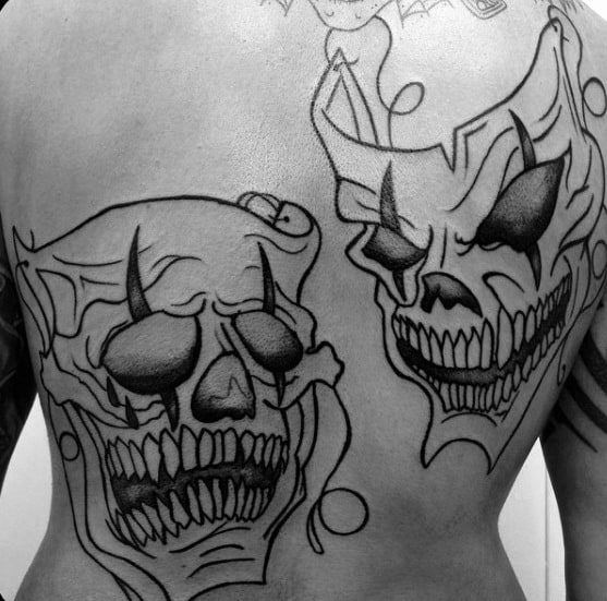 Gentleman With Drama Mask Tattoo Black Ink Outline On Back