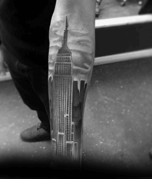 Gentleman With Empire State Building Tattoo