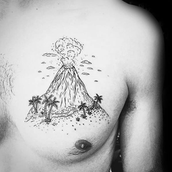Gentleman With Erupting Volcano With Palm Trees Tattoo On Chest