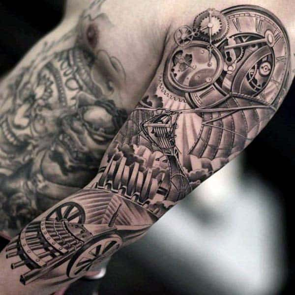 Gentleman With Extreme Mechanical Gears Clock Half Sleeve Tattoo