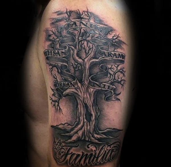 Gentleman With Family Tree Tattoo With Names In Banner