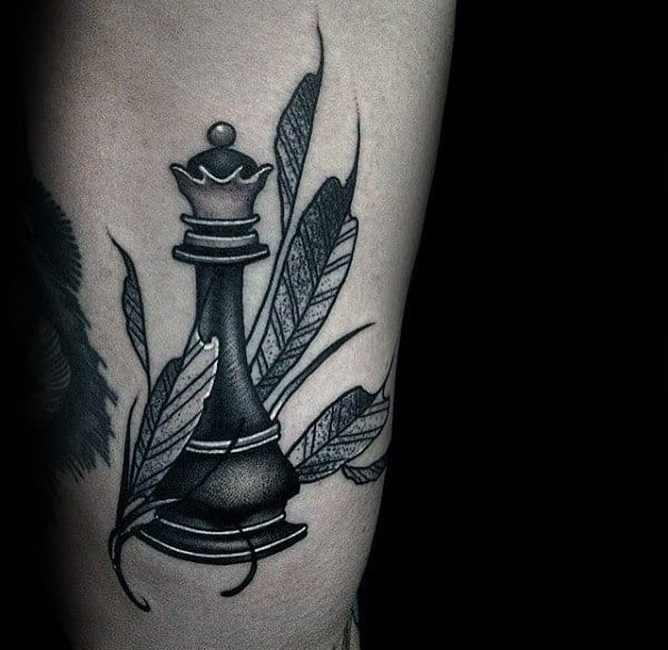 Gentleman With Feathers And King Chess Piece Tattoo On Rib Cage Side Of Body