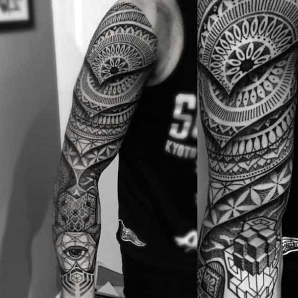 gentleman-with-flower-of-life-geometrical-sleeve-3d-tattoo