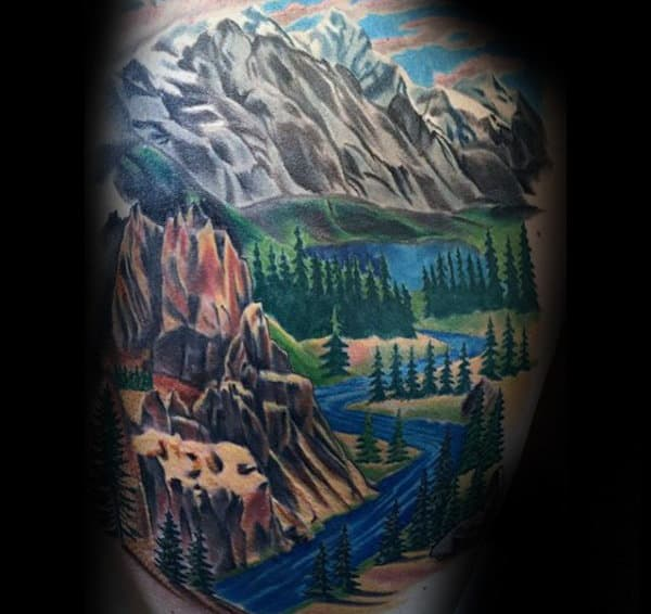 Gentleman With Flowing River Landscape Back Tattoo