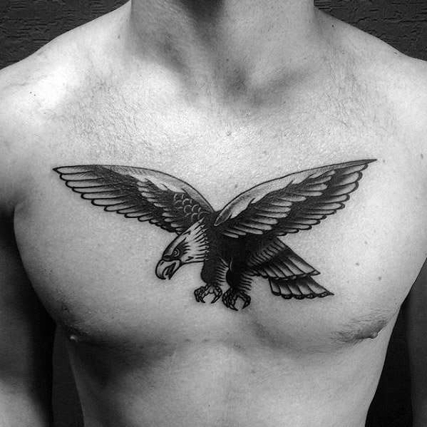 Gentleman With Flying Eagle Traditional Chest Vintage Tattoo