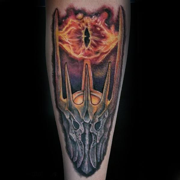 Gentleman With Forearm Lord Of The Rings Eye Of Sauron Tattoo