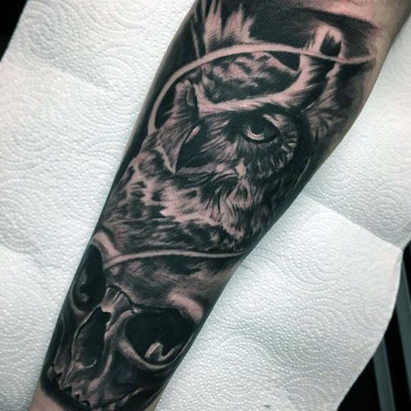 Gentleman With Forearm Sleeve Owl Skull Tattoo