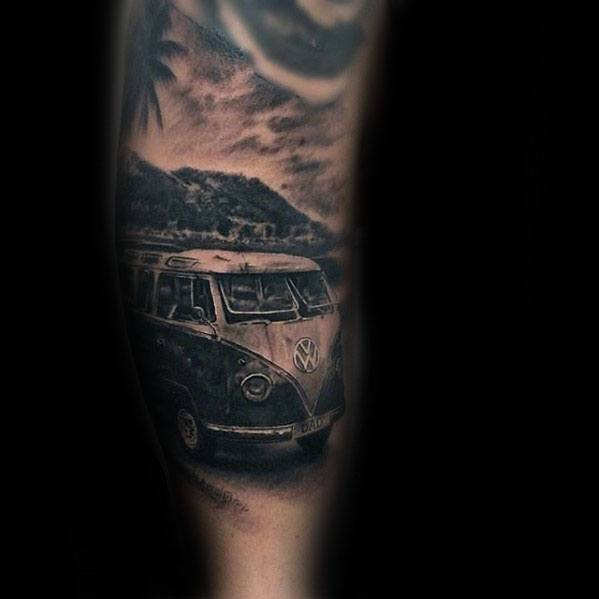 Gentleman With Forearm Volkswagen Wv Tattoo
