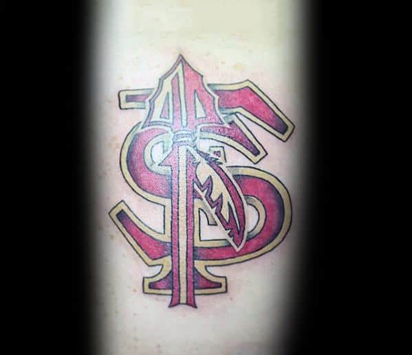 Gentleman With Fsu Florida State University Logo Forearm Tattoo