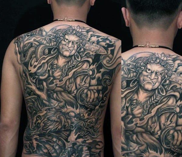 Gentleman With Fudo Myoo Tattoo On Back