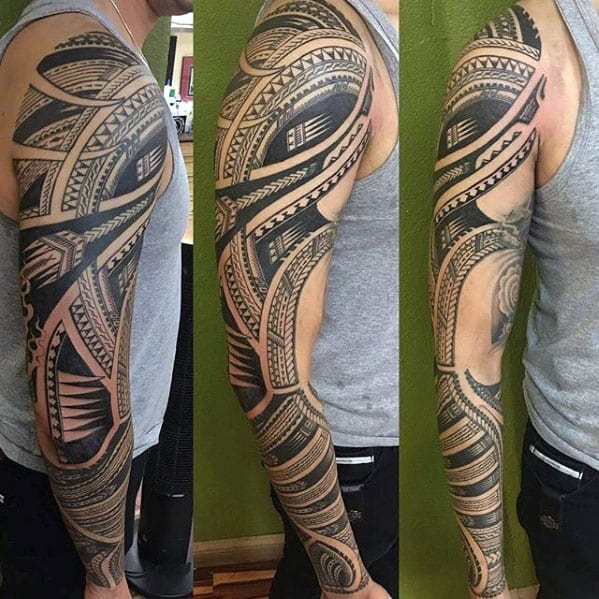 Gentleman With Full Arm Polynesian Tribal Sleeve Tattoo