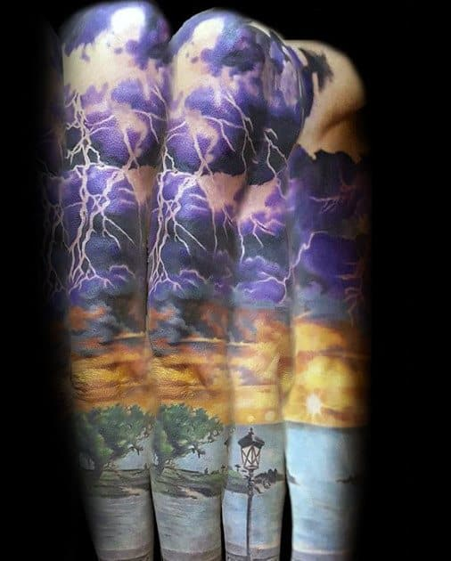 Gentleman With Full Arm Sleeve Sky Thunderstorm Tattoo