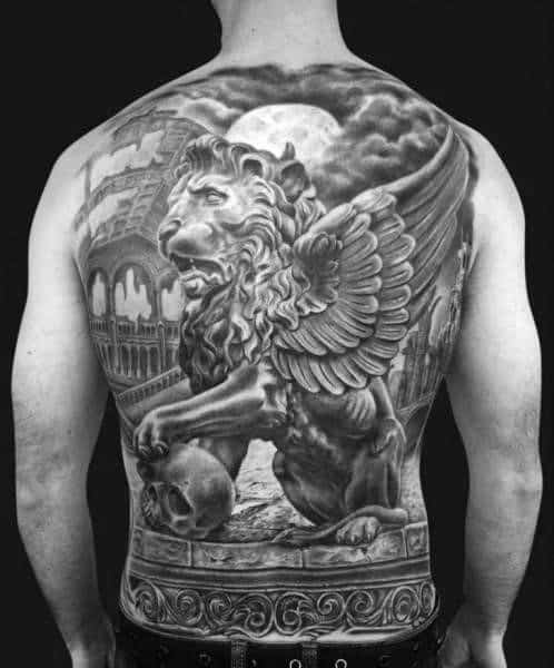 Gentleman With Full Back 3d Lion Statue Tattoo
