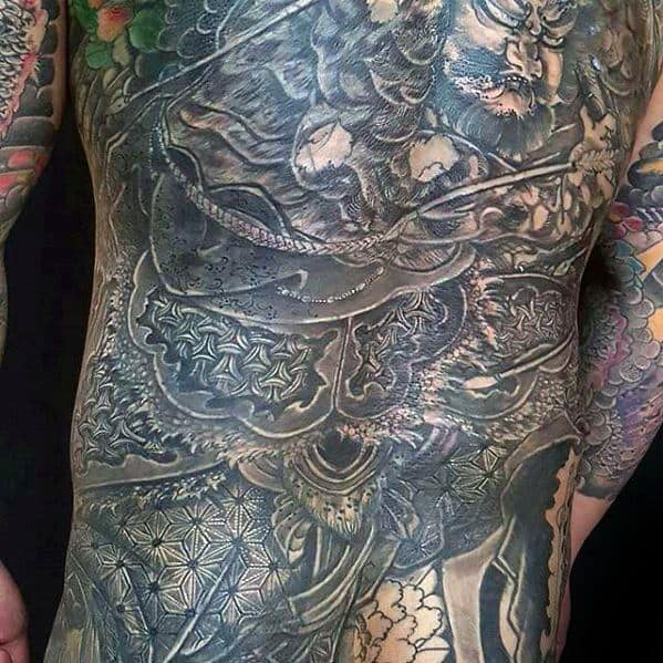Gentleman With Full Back Geometric Tattoo Cover Up Ideas