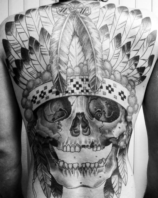 Gentleman With Full Back Tattoo Of Indian Skull