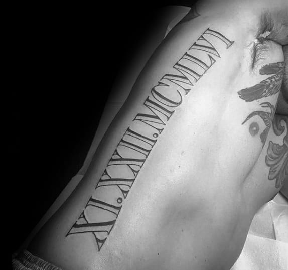 Gentleman With Full Rib Cage Side Roman Numerals Tattoos