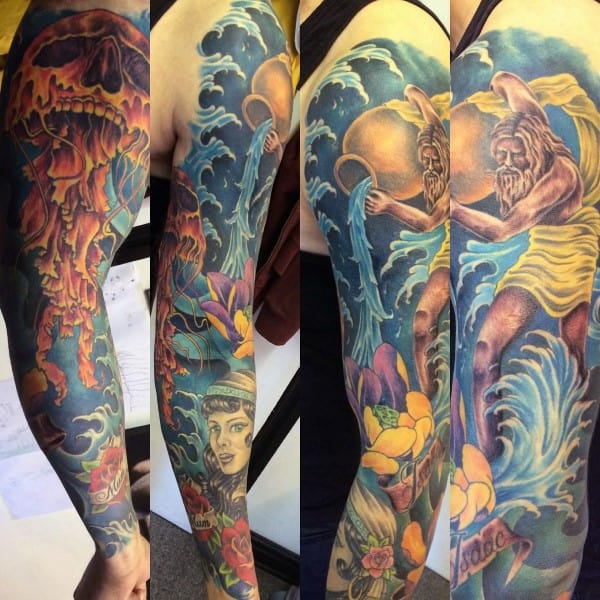 Gentleman With Full Sleeve Aquarius Tattoo
