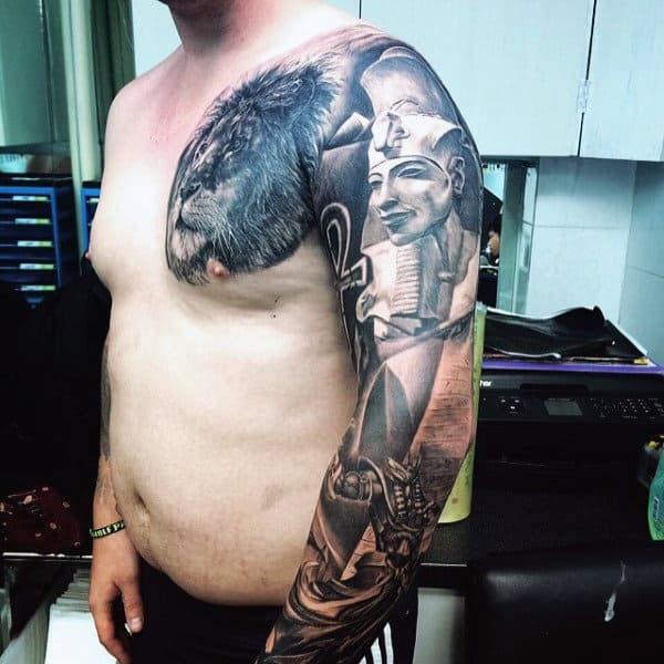 Gentleman With Full Sleeve Egyptian Pyramid Tattoo Design