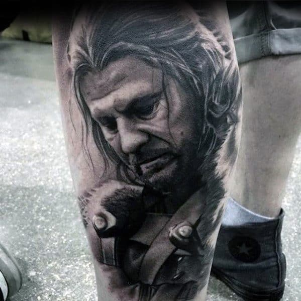 Gentleman With Game Of Thrones Tattoo Leg Sleeve