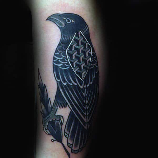 Gentleman With Geometric Crow Arm Tattoo