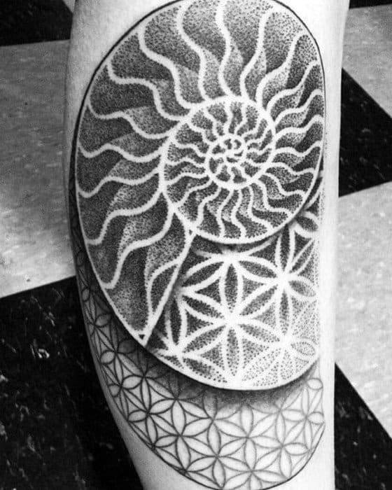 Gentleman With Geometric Flower Of Life Pattern Leg Ammonite Tattoo
