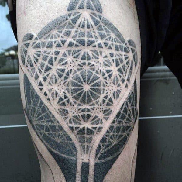 Gentleman With Geometric Leg Tattoo