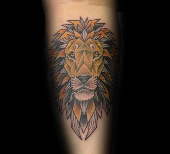 Gentleman With Geometric Lion Forearm Tattoo