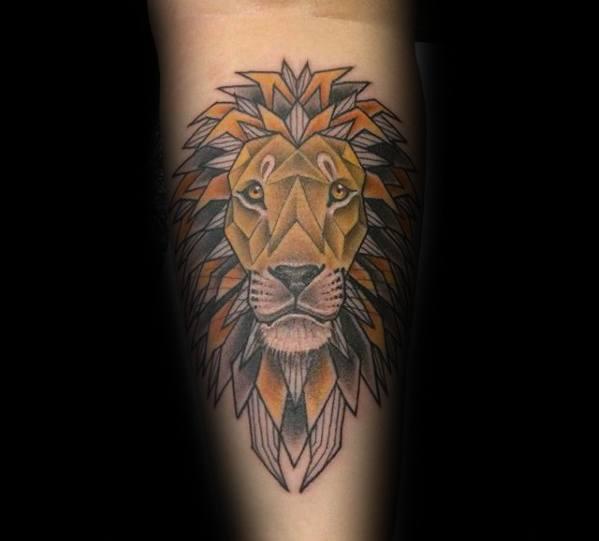 Gentleman With Geometric Lion Forearm Tattoo