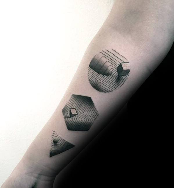 Gentleman With Geometric Shapes Dotwork Detailed Small Forearm Tattoo