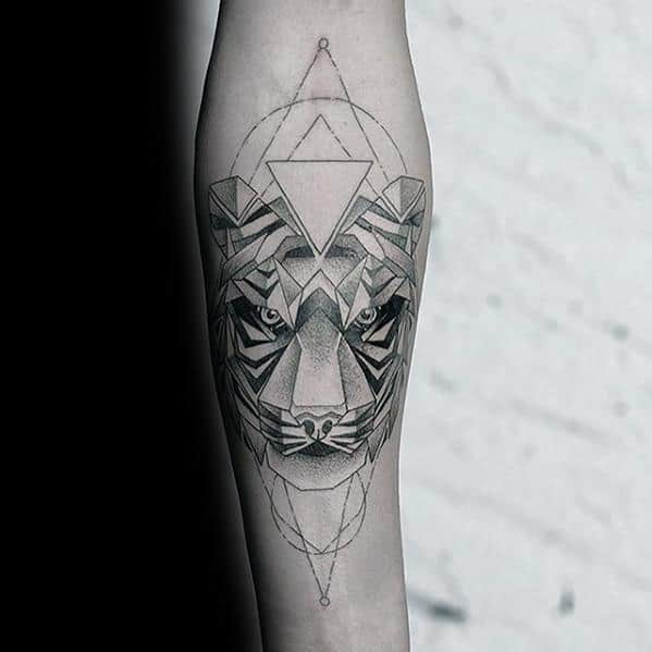 50 Geometric Tiger Tattoo Designs For Men Striped Geometry