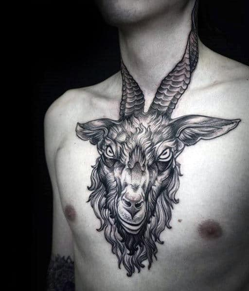 Gentleman With Goat Chest And Neck Tattoo