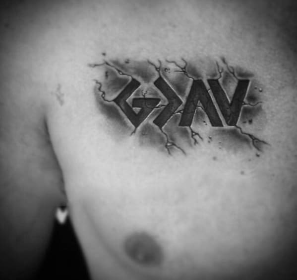 Gentleman With God Is Greater Than The Highs And Lows Stone 3d Chest Tattoo