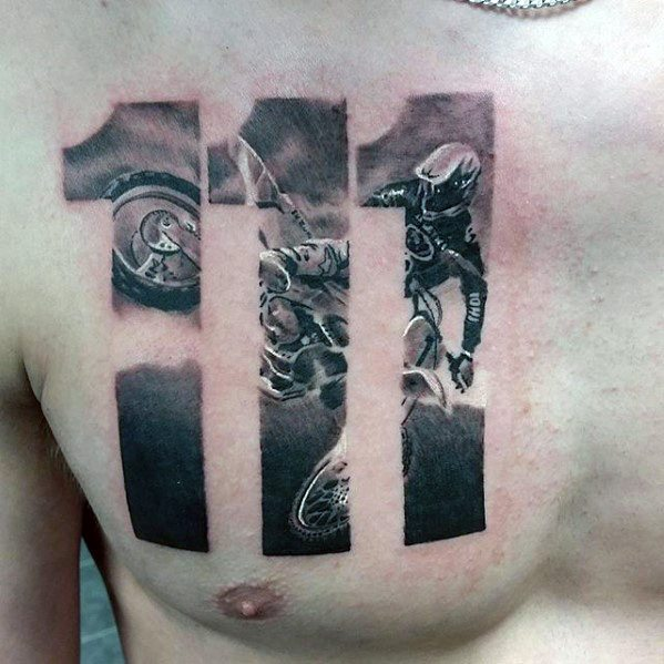 Gentleman With Great Motorcross Themed Numbers Chest Tattoo