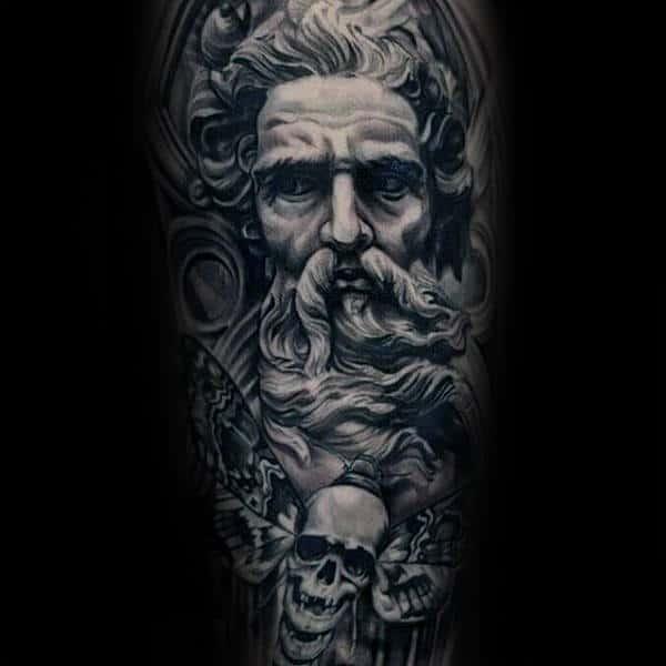 Gentleman With Greek God Moth Skull Sleeve Tattoo
