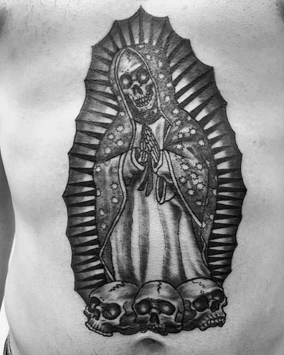 Gentleman With Guadalupe Tattoo Chest With Skull Design