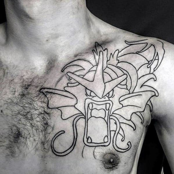 Gentleman With Gyarados Black Ink Outline Upper Chest Tattoo
