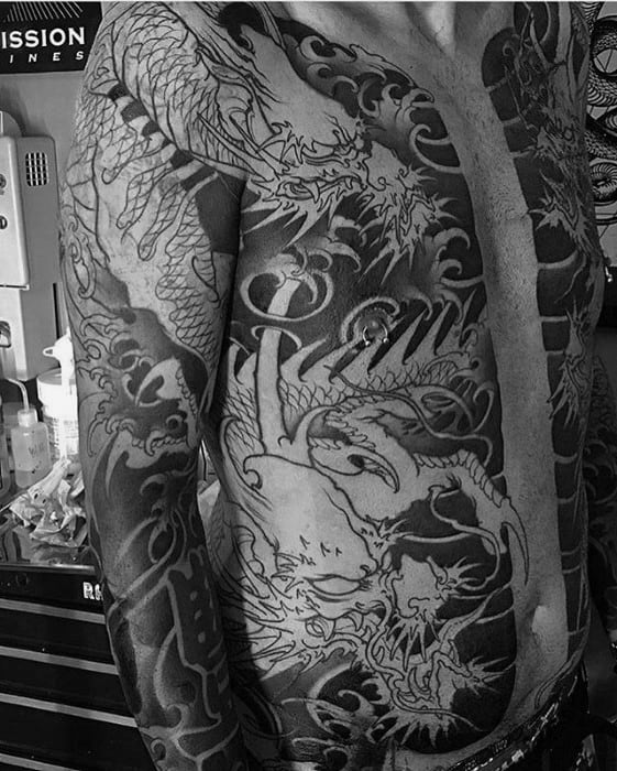 Gentleman With Half Chest Black Ink Japanese Dragon Tattoos