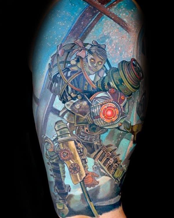 Gentleman With Half Sleeve Bioshock Video Game Themed Tattoo