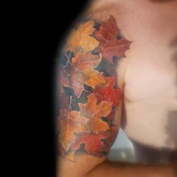 Gentleman With Half Sleeve Fall Leaves Tattoo Ideas