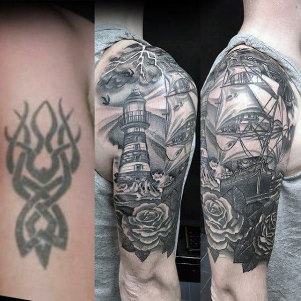 Gentleman With Half Sleeve Nautical Themed Tattoo Cover Up Ideas