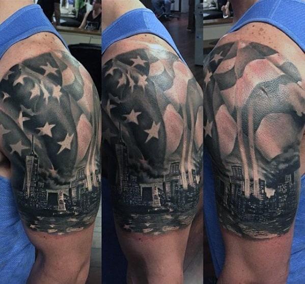 Gentleman With Half Sleeve New York Skyline Tattoo